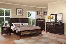 Williams Contemporary Cherry King Storage Bed Mirrored Drawers 4 pc Bedroom Set