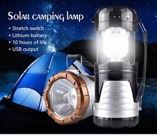 Black Solar LED Camping Lantern with Emergency USB Phone Charging Port