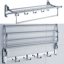 Stainless Steel Towel Rack Wall Mount Bathroom Shelf Bar Rail Hotel Style
