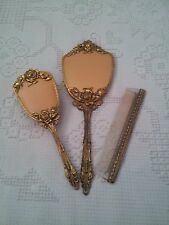 VINTAGE RETRO GLOBE 24K GOLD PLATED MIRROR HAIR BRUSH COMB VANITY SET ROSE