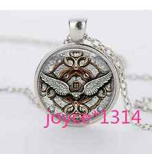 Steampunk Angel wings Cabochon Tibetan silver Glass Chain Pendant Necklace#882