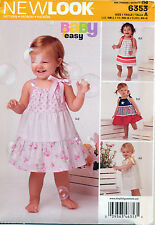 ©2015 NEW LOOK SEWING PATTERN 6353 BABY SZ NB-L EASY DRESSES - PILLOWCASE STYLE