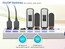 With 7 Port USB 3.0 Hub AC Power Adapter Cable for PC Laptop + On/Off Switch