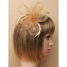 NEW Latte nude looped net and feather fascinator clip and pin wedding prom races