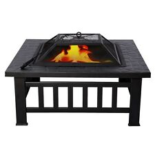 """Square Metal 32"""" Fire Pit Outdoor Patio Garden Stove BBQ Fireplace Brazier NEW"""