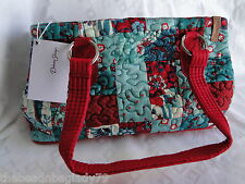 NEW DONNA SHARP ABILENE PATCH REESE BAG HANDBAG PURSE Teal Blue Cranberry