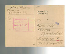 1945 Germany Theresienstadt Ghetto postcard Cover Judenrat Cancel Alena Maly