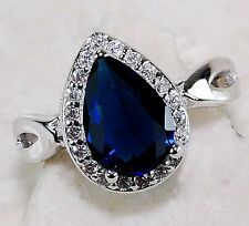2CT Blue Sapphire & White Topaz 925 Solid Genuine Sterling Silver Ring Sz 6