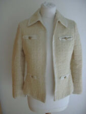 French Vintage Couture Cream Woven Wool Jacket Lion Head Buttons Uk 8 Us 4