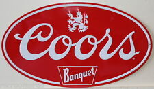 COORS banquet beer logo heavy embossed metal sign oval rolled edges coor 2050021