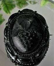 A Beautiful Large Antique Victorian Carved Whitby Jet Grape Vine Mourning Brooch