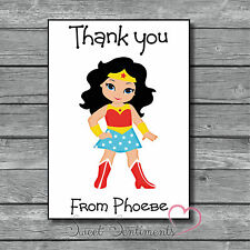 Personalised Wonder Woman Kids Thank You Card / Notes  - x12 with Envelopes
