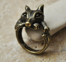 Vintage Bronze Plt Wolf Ring  / Thumb Ring Adjustable Men Ladies Animal Wildlife