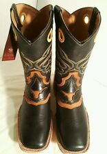 Men's cowboy western boots Genuine Cowhide Leather square toe rodeo black 9.5