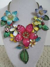 Auth Betsey Johnson Hawaiian Luau Lucite Flower Multicolor Statement Necklace