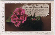 Every Good Birthday Wish to my Brother - Vintage Postcard - Rose Design
