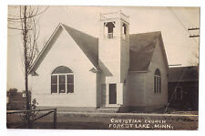 Minnesota real photo postcard Forest Lake Christian Church ca 1910