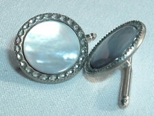 VINTAGE SILVER TONE MOTHER OF PEARL MENS CUFFLINKS
