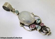 MOONSTONE GARNET BLUE TOPAZ PENDANT 925 SILVER ARTISAN JEWELRY COLLECTION R737A