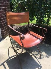 Charleston Forge Wrought Iron Directors Arm Chair Leather Seat Back 4 avail