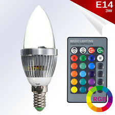 Bombilla LED E14 Vela RGB 3W High Power 360º Blanco + Control Remoto AC85-265V