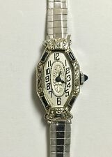 Antique Ladies 18K White Gold Invicta Sapphire Wristwatch 1930s *Working*