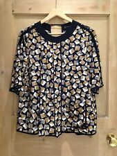 Zara TOP size S 8 BLACK Brown white Geometric PRINT BNWT