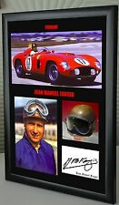 "Juan Manuel Fangio F1 Ferrari Framed Canvas Signed Print ""Great Gift"""