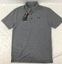 Under Armour MEN'S Athletic Golf Polo Loose Grey Navy Blue Stripes Size Large