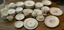 (92) Piece Royal China Painted Flowers 22K Gold Warranted Serving Set of 10+ Ex