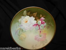 ANTIQUE THOMAS SEVRES  BAVARIA HP ROSE DESIGN PLATE SIGNED BLACK