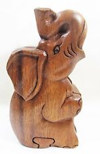 Elephant Hand Carved Wood Puzzle Box