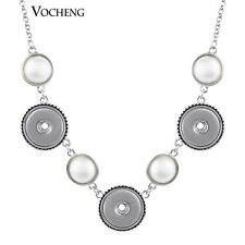 Pearl Round Pendant Necklace 18mm Custom Snap Jewelry NN-297