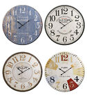 60cm Extra Large Round Wooden Wall Clock Vintage Retro Antique Distressed Style