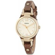 Fossil Women's ES3264 Georgia Mini Analog Gold Dial Brown Leather Watch