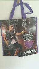 Justin Bieber Tote Bag from Claire's with printed autograph tag and label