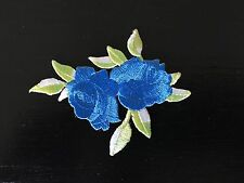 Sew on & iron on  patches(small twin rose-blue)