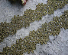 """2.75""""*1Y  Metallic Gold  Embroidery Antique Venise Lace Trim by the yard Bridal"""