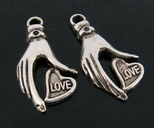 25 Hand LOVE Heart CCB Silver Metal Plated Beads