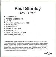 PAUL STANLEY Live To Win UK 10-trk numbered/watermarked promo test CD Kiss