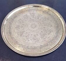 LARGE 60CM DIAM ANTIQUE OTTOMAN PERSIAN QAJAR MAMLUK STYLE BRASS TRAY CHARGER