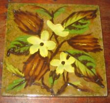 19C BARBOTINE TILE SHERWIN & COTTON FLOWER LEAVES