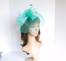High Quality Kentucky Derby Wedding Polyester Feather Fascinator Turquoise/White