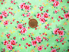 GREEN WITH SMALL PINK ROSES- TWEE GARDEN PARTY CUCUMBER - 100% COTTON FABRIC FQ