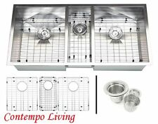 "42"" Stainless Steel Square Zero Radius Triple Bowl Undermount Kitchen Sink Combo"