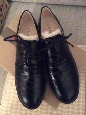 Orla Kiely Clarks, retrò, vintage, Agatha Nero Pelle Scarpe, dimensioni 5.5, EUR 39