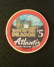 atlantis reno chinese new year of the dragon $5 casino chip unc