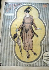 VTG 1910s PARIS FASHION & SEWING PATTERN MAGAZINE LA MODE 1918 +TRANSFER PATTERN