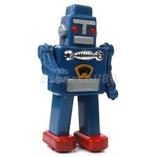 Vintage Wind Up Blue Robot Clockwork Metal Tin Toys Collectible Gift