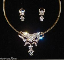 Bridal Gold W.Rhinestone 2 In 1 Choker Necklace / Pendant & Earrings Set
